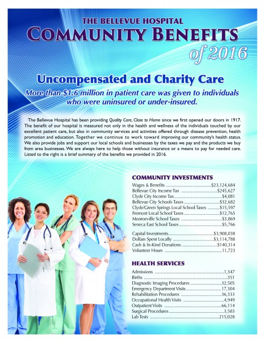 The Bellevue Hospital provides a variety of community benefits.